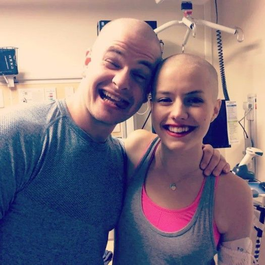 Cancer Leukemia bald and beautiful with great friends and smiles. Beautiful makeup
