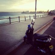 moped ocean beach