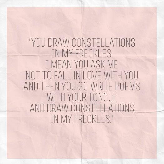 freckles, love, poem, constellations